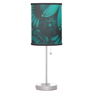 Beautiful Teal and Orange Paisley Fractal Feathers Table Lamp