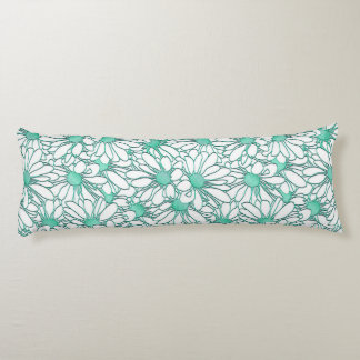Beautiful Teal and White Floral Design Body Pillow
