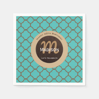 Beautiful Teal & Brown Birthday Disposable Napkins