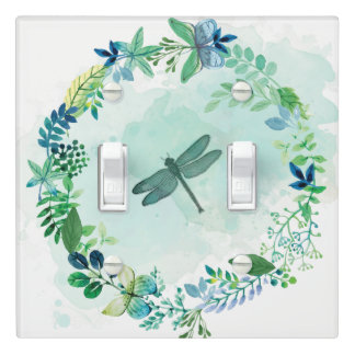 Beautiful Teal Dragonfly Butterfly Flowers Light Switch Cover