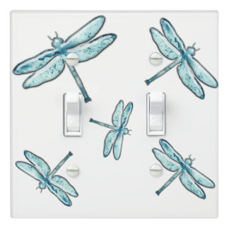 Beautiful Teal Graphic Dragonflies Decor Light Switch Cover