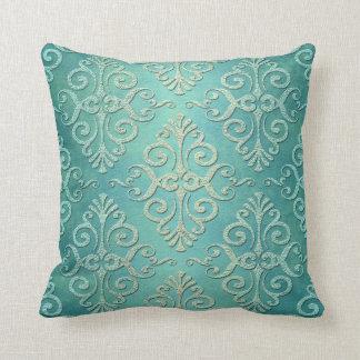 Beautiful Teal Green Distressed Damask Throw Pillow