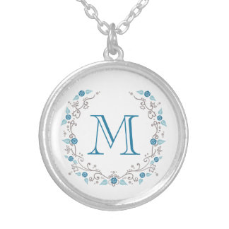 Beautiful teal monogram silver plated necklace