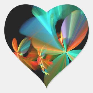 Beautiful Teal & Orange Fractal Art Flower Petals Heart Sticker