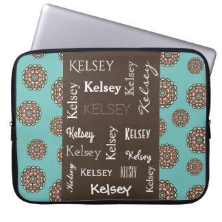 Beautiful Teal Retro Flowers w/Name Laptop Sleeve