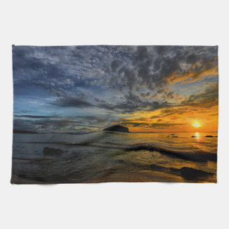 Beautiful Thailand coast at sunset time Kitchen Towel