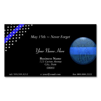 Beautiful Thin Blue Line Police St Michael Magnetic Business Card