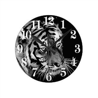 Beautiful Tiger Black White Africa Round Clock