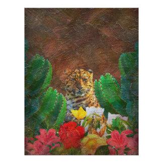 Beautiful Tiger Cactus Flowers Letterhead Design
