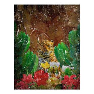 Beautiful Tiger Floral Palette Oil Letterhead