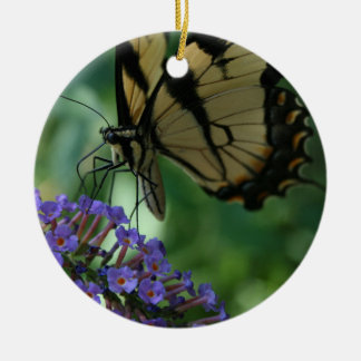 Beautiful Tiger Swallowtail Butterfly on Flower Ceramic Ornament