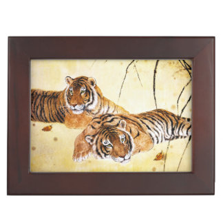 Beautiful Tigers big cat resting chinese painting Memory Boxes