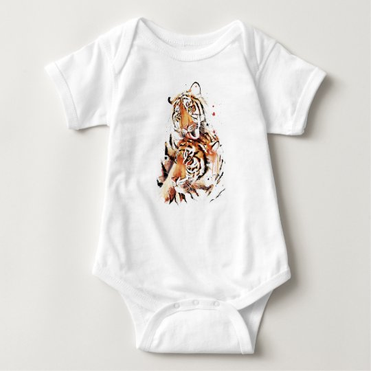 Beautiful tigers, big cats baby bodysuit