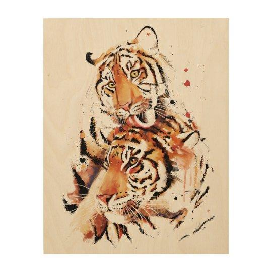 Beautiful tigers, big cats wood print