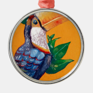 Beautiful Toucan Bird Painting Metal Ornament