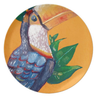Beautiful Toucan Bird Painting Plate