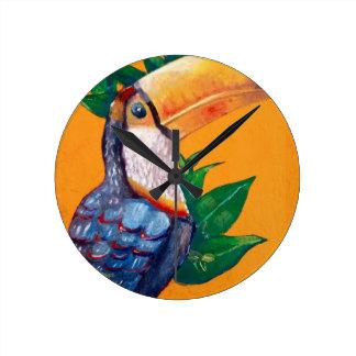 Beautiful Toucan Bird Painting Wallclock
