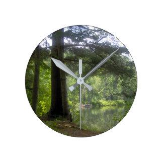 beautiful trees and lake, water round clock