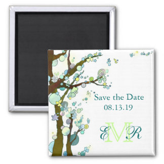 Beautiful Trees Monogram Wedding Save the Date Square Magnet