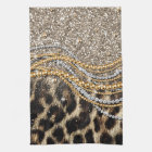 Beautiful trendy girly leopard animal print kitchen towel