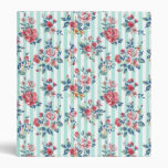 Beautiful trendy girly vintage blue stripes roses 3 ring binder