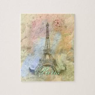 Beautiful trendy girly vintage Eiffel Tower France Jigsaw Puzzle