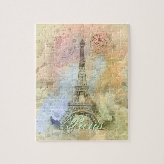 Beautiful trendy girly vintage Eiffel Tower France Jigsaw Puzzle