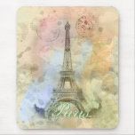Beautiful trendy girly vintage Eiffel Tower France Mouse Pad
