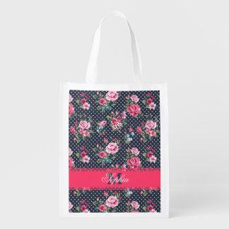 Beautiful trendy girly vintage monogram floral grocery bags