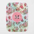 Beautiful trendy girly vintage monogram  roses burp cloth