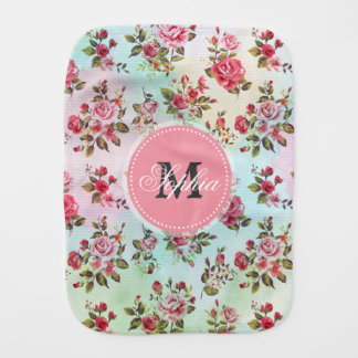 Beautiful trendy girly vintage monogram  roses burp cloth
