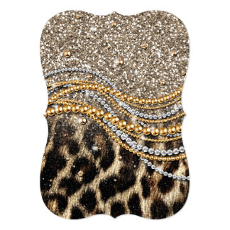 """Beautiful trendy leopard faux animal print 5"""" x 7"""" invitation card"""
