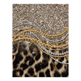 Beautiful trendy leopard faux animal print
