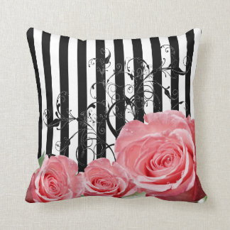 Beautiful Trendy Pink Roses with Swirls Throw Pillows