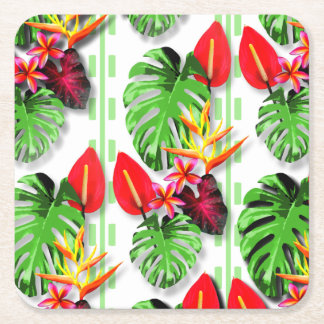 Beautiful Trendy Tropical Leaf Flower Theme Square Paper Coaster