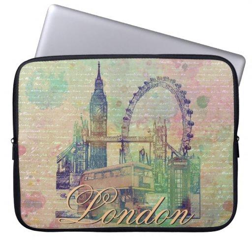 Beautiful trendy Vintage London Landmarks Laptop Sleeves