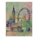 Beautiful trendy Vintage London Landmarks Poster