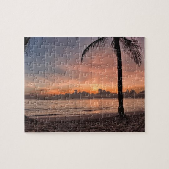 Beautiful Tropical Beach Ocean Palm Trees Sunset Jigsaw Puzzle