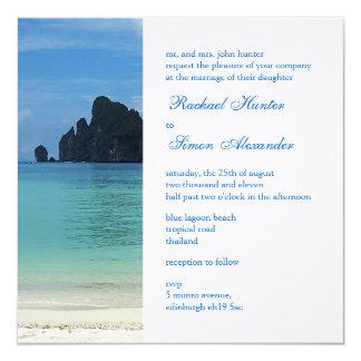 Beautiful Tropical Beach Wedding Invitiation 2 Card