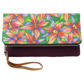 Beautiful Tropical Floral Watercolour Clutch Bag
