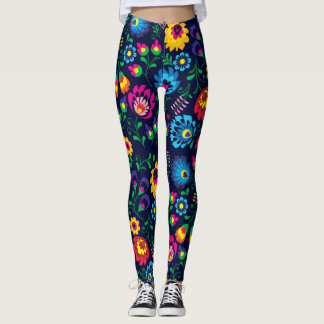 Beautiful Tropical Style Floral Pattern Leggings