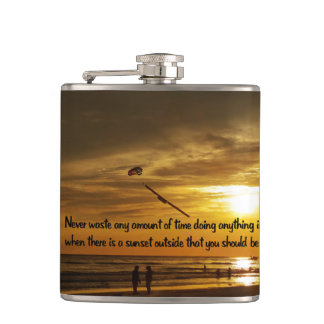 Beautiful Tropical sunset Hip Flask