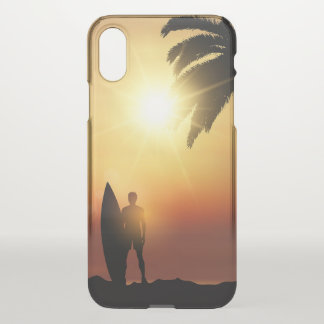 Beautiful Tropical Sunset Surfer iPhone X Case