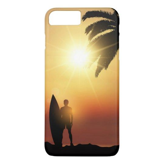 Beautiful Tropical Sunset Surfer   Phone Case