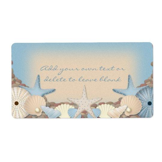 Beautiful Tropical Theme Beach Shells Shipping Label