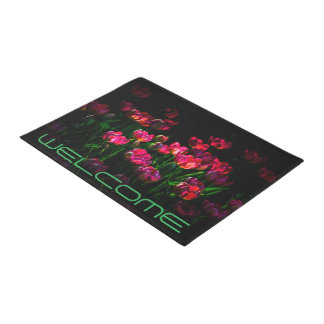 Beautiful tulip flowers dark doormat