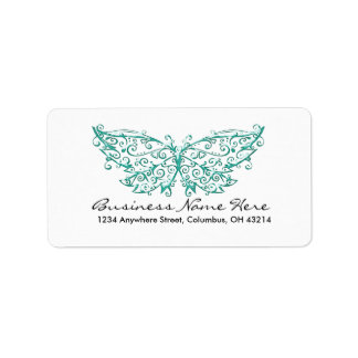 Beautiful Turquoise Butterfly Address Labels