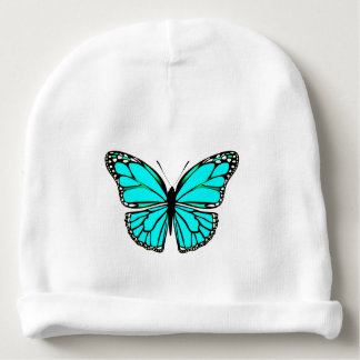 BEAUTIFUL TURQUOISE BUTTERFLY COTTON BABY BEANIE