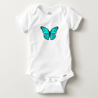 BEAUTIFUL TURQUOISE BUTTERFLY COTTON BABY OUTFIT BABY ONESIE