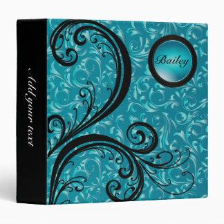 Beautiful Turquoise Damask | Personalize Vinyl Binders